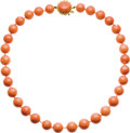 Estate Jewelry:Necklaces, Coral, Gold Necklace. The necklace is composed of coral beadsranging in size from 13.50 - 13.00 to 12.50 - 12.00 mm, form...(Total: 1 Item)