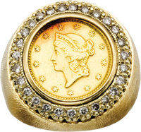 Gold Coin, Diamond, Gold Ring  The ring features a $1 U.S. Liberty gold coin, dated 1851, encircled by full-cut diamonds...