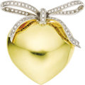 Estate Jewelry:Brooches - Pins, Diamond, Gold Brooch. The brooch, designed as a bow on a heart,features full-cut diamonds weighing a total of approximate...(Total: 1 Item)