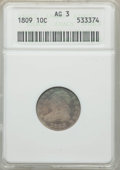 "Bust Dimes: , 1809 10C AG3 ANACS. EX: ""E.B. Strickland Collection"". PCGSPopulation: (19/114). Mintage 51,065. ..."