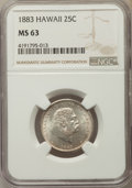 Coins of Hawaii , 1883 25C Hawaii Quarter MS63 NGC. NGC Census: (210/522). PCGS Population: (335/697). CDN: $325 Whsle. Bid for problem-free ...