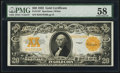 Large Size:Gold Certificates, Fr. 1187 $20 1922 Gold Certificate PMG Choice About Unc 58.. ...