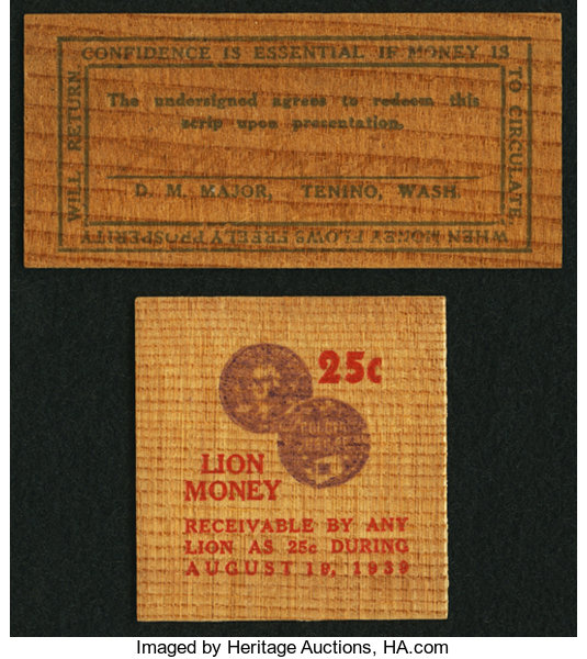Tenino Washington Wooden Money Two Different Issuers Total