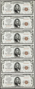 National Bank Notes:Missouri, Saint Louis, MO - $5 1929 Ty. 1 The Boatmen's NB Ch. # 12916 UncutSheet. ...