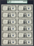 Small Size:Silver Certificates, Fr. 1613W $1 1935D Silver Certificates. Uncut Sheet of Twelve. PCGS Choice About New 58PPQ.. ...