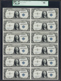 Small Size:Silver Certificates, Fr. 1607 $1 1935 Silver Certificates. Uncut Sheet of Twelve. PCGS Choice About New 58.. ...