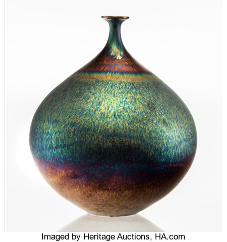 Hideaki Miyamura (Japanese/American, b. 1955) Bottle with Blue Hare's Fur Glaze Glazed porcelain 9 inches high (22.9 ...