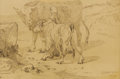 Fine Art - Painting, European:Antique  (Pre 1900), CONSTANT TROYON (French 1810-1865). La fermiere et ses vaches(The farmer and his cows). Pen and ink on paper. 9 x 6 inc...