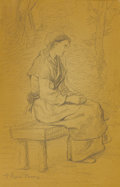 Fine Art - Painting, European:Antique  (Pre 1900), FEYIN-PERRIN (French, 1826-1888). Paysanne au repos (Peasant at rest). Graphite on paper. 12-1/2 x 8 inches window (31.8...