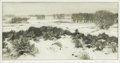 GENE (ALICE GENEVA) KLOSS (American 1903-1996) Tranquility of Winter, circa 1960 Etching 7-3/8 x