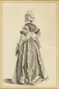 After JEAN-ANTOINE WATTEAU (French 1684-1721) Portrait of a Lady Etching on paper 13-1/2 x 9 inch