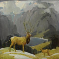 Fine Art - Painting, American:Modern  (1900 1949)  , WILLIAM HERBERT (BUCK) DUNTON (American 1878-1936). In theTetons. Oil on canvas. 14-1/8 x 14-1/8 inches (35.9 x 35.9cm...