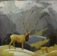 WILLIAM HERBERT (BUCK) DUNTON (American 1878-1936) In the Tetons Oil on canvas 14-1/8 x 14-1/8 in