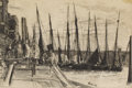Prints, JAMES ABBOTT MCNEILL WHISTLER (American 1834-1903). Billingsgate, 1859 . Etching. 5-7/8 x 8-3/4 inches (14.9 x 22.2 cm)...