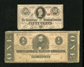 Confederate Notes:Group Lots, Confederate Change Bills.. ... (Total: 2 notes)