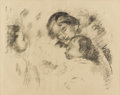 Prints:European Modern, PIERRE-AUGUSTE RENOIR (French 1841-1919). Une mère et deuxenfants, 1912 . Lithograph on Ingres D'Arches paper. 13-...