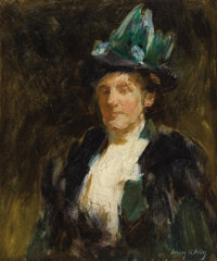 IRVING RAMSEY WILES (American 1861-1948) Study of a Lady in Green Oil on board 18 x 15-1/4 inches