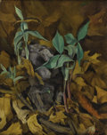 Fine Art - Painting, American:Contemporary   (1950 to present)  , GERTRUDE TONSBERG (American 1902-1973). The First Shoots of Spring. Oil on board. 20 x 16 inches (50.8 x 40.6 cm). Signe...