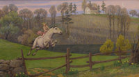 BRYSON BURROUGHS (American 1869-1934) The Horse Tamer, 1928 Oil on canvas 25-1/2 x 45 inches (64
