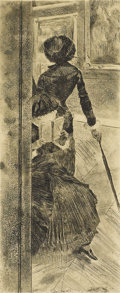 Prints:European Modern, EDGAR DEGAS (French 1834-1917). Mary Cassatt at the Louvre,1879-1880. Etching, soft ground etching, aquatint, and drypo...