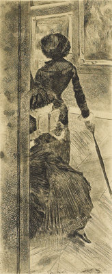 EDGAR DEGAS (French 1834-1917) Mary Cassatt at the Louvre, 1879-1880 Etching, soft ground etching, a