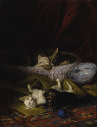 LOUIS EUGENE LAMBERT (French 1825-1900) As Kittens Play, Their Mother Naps Oil on canvas 25-3/4 x