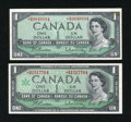 Canadian Currency: , BC-37bA-i $1 1954 Modified Portrait VF. BC-45bA-i $1 1967 ChoiceCU.. ... (Total: 2 notes)
