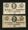 Confederate Notes:1863 Issues, T63 50 Cents 1863 XF, water mark, paper clip spot. T72 50 Cents 1864 XF-AU, paper clip indentation.. ... (Total: 2 notes)