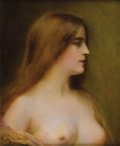 Fine Art - Painting, European:Antique  (Pre 1900), HENRI RONDEL (French 1857-1919). Portrait of a Young Woman.Oil on canvas. 18-1/4 x 15 inches (46.4 x 38.1 cm). Signed l...