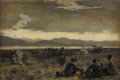 Fine Art - Painting, American:Antique  (Pre 1900), EDWIN LORD WEEKS (American 1849-1903). Early Morning Camp NearThe Shore of Lake Urumiyah, circa 1892. Oil on canvas lai...