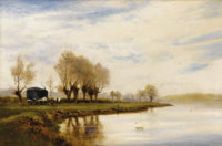 "ALFRED DE BREANSKI (British 1852-1928) ""A Misty Morning"", The Tow Path at Shepperton Oil on canvas"