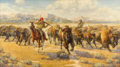Fine Art - Painting, American:Contemporary   (1950 to present)  , FRANK HAGEL (American b.1932). Splitting up the Herd, 1985. Oil on board. 18 x 32 inches (45.7 x 81.3 cm). Signed and da...