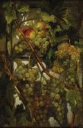 Fine Art - Painting, European:Antique  (Pre 1900), SIMON SAINT-JEAN (French 1808-1860). Grappes de raisins,1840. Oil on artists' board. 22 x 14-1/2 inches (55.9 x 36.8 cm...