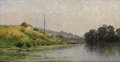 Paintings, ADRIEN SAUZAY (French/Barbizon School, 1841-1928). Bord de rivière. Oil on canvas. 15 x 25 inches (38.1 x 63.5 cm). Sign...