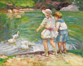 Fine Art - Painting, American:Modern  (1900 1949)  , EDWARD ALFRED CUCUEL (American 1875-1954). Feeding Time inCentral Park, New York. Oil on canvas laid on wood panel. 28...