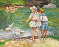 EDWARD ALFRED CUCUEL (American 1875-1954) Feeding Time in Central Park, New York Oil on canvas laid