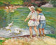 EDWARD ALFRED CUCUEL (American 1875-1954) Feeding Time in Central Park, New York Oil on canvas laid on wood panel 28