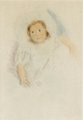 Prints:American, MARY STEVENSON CASSATT (American 1844-1926). Margot wearing abonnet, 1902. Color drypoint. 9 x 6-1/8 inches (22.9 x 15....