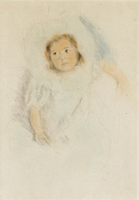 MARY STEVENSON CASSATT (American 1844-1926) Margot wearing a bonnet, 1902 Color drypoint 9 x 6-1/
