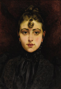 FRANÇOIS MARTIN-KAVEL (French 1861-1931) Portrait de jeune femme, 1890 Oil on canvas 21-3/4 x 15