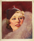 Paintings, AMERICAN ILLUSTRATOR (American 20th Century) . Irene Dunne, original movie magazine cover illustration, circa 1930s . Oi... (Total: 2 Items)