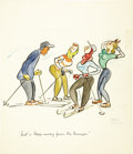 Illustration:Sporting, MAX BARSI (American 20th Century) . Let's Keep Away From TheBumps, original cartoon illustration, circa 1930 - 1940 . W...(Total: 1 Item)