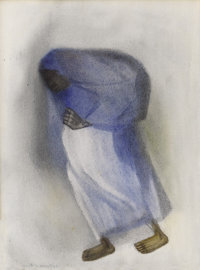 GUSTAVO MONTOYA (Mexican 1905-2005) Mexican Woman with Sack Watercolor on paper 13 x 9-1/2 inches