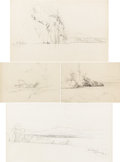Fine Art - Painting, American:Antique  (Pre 1900), DAVID JOHNSON (American 1827-1908). Group of Four Sketches.Pencil on paper. Various Dimensions. ... (Total: 4 Items)