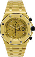 "Timepieces:Wristwatch, Audemars Piguet Men's Gold ""Royal Oak Offshore"" ChronographIntegral Bracelet Wristwatch, circa 2004. Case: 54 x 45 mm, 18...(Total: 1 Item)"