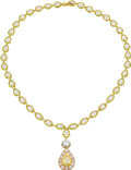 Estate Jewelry:Necklaces, Colored Diamond, Diamond, Platinum, Gold Necklace, Gregg Ruth. Thenecklace is highlighted by a pear-shaped diamond weighi... (Total:1 Item)