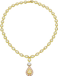 Colored Diamond, Diamond, Platinum, Gold Necklace, Gregg Ruth  The necklace is highlighted by a pear-shaped diamond weig...