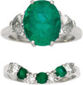 Estate Jewelry:Rings, Emerald, Diamond, Platinum Ring Set. The set includes: one ringfeaturing an oval-shaped emerald measuring 11.50 x 9.00 x ...(Total: 1 Item)