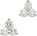 Estate Jewelry:Earrings, Diamond, White Gold Earrings. Each earring features full-cutdiamonds set in 18k white gold. Total diamond weight for the ...(Total: 1 Item)