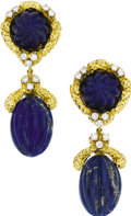 Estate Jewelry:Earrings, Lapis Lazuli, Diamond, Gold Earrings. Each earring features carvedlapis lazuli, enhanced by full-cut diamonds, set in 14k... (Total:1 Item)